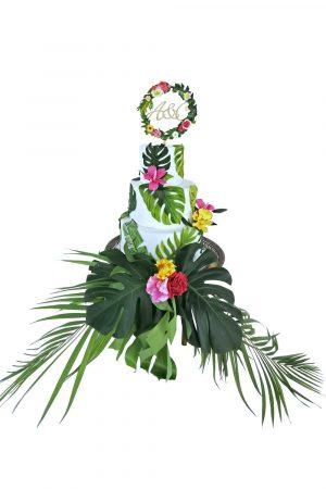 Tort de nunta cu frunze, vedere principala